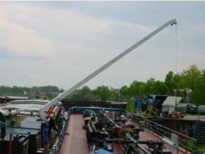 Illustration crane for barge in white