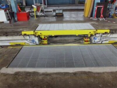 Mobile track bridges and hydraulic DG support