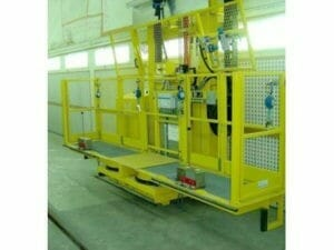 Rail-guided elevating work platforms