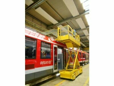 Movable lifting platform for trains
