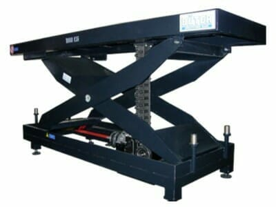 Illustration of mechanically driven lifting table in blue