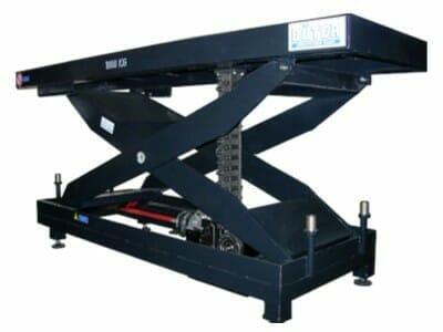 Abbildung mechanisch angetriebener Hubtisch in blau
