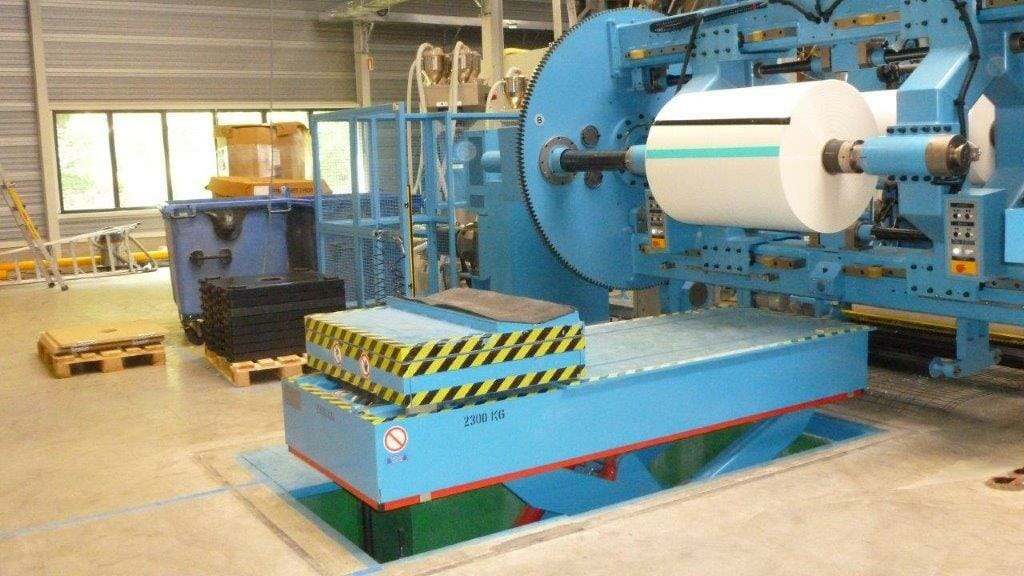 Abbildung Papier und Kunststoff Coiltransporter in blau
